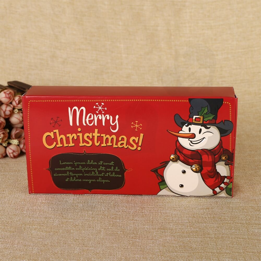 Christmas Red Color Printed Box For Gifts Side View Two