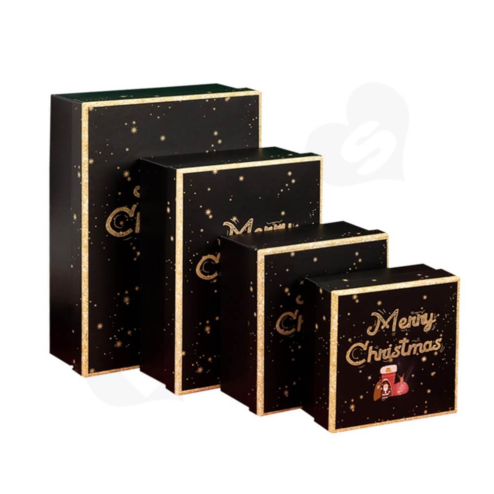 Christmas Season Gift Box With Gold Foil Stamping Side View Five