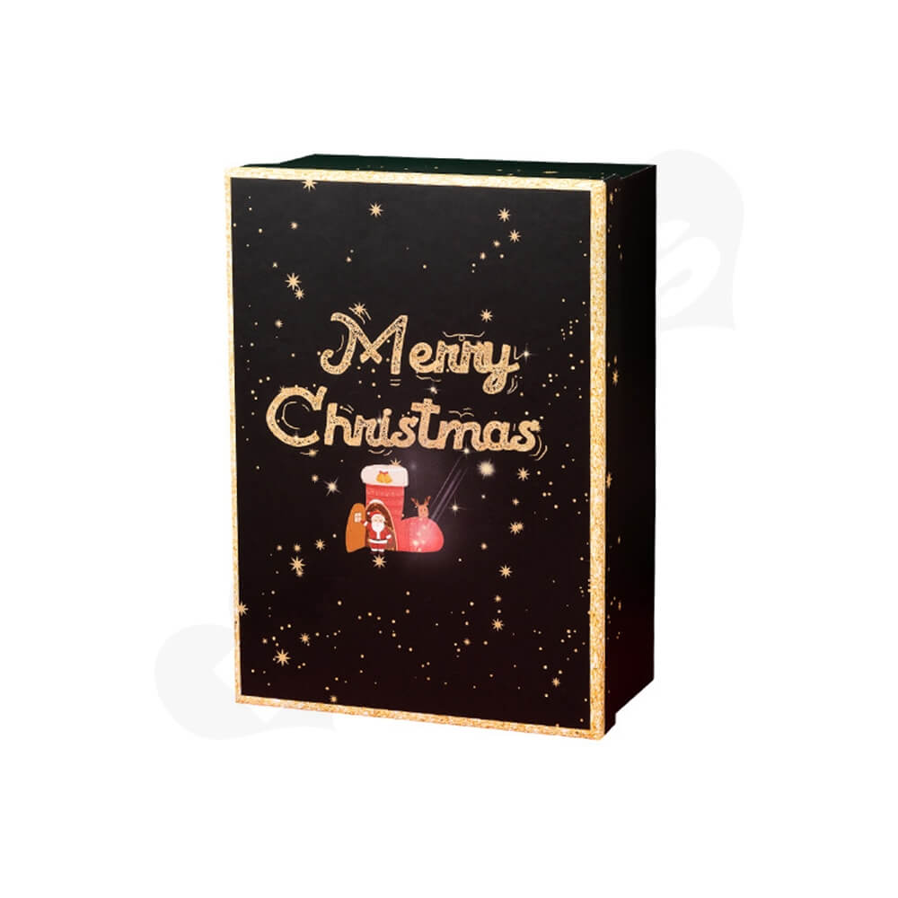 Christmas Season Gift Box With Gold Foil Stamping Side View One