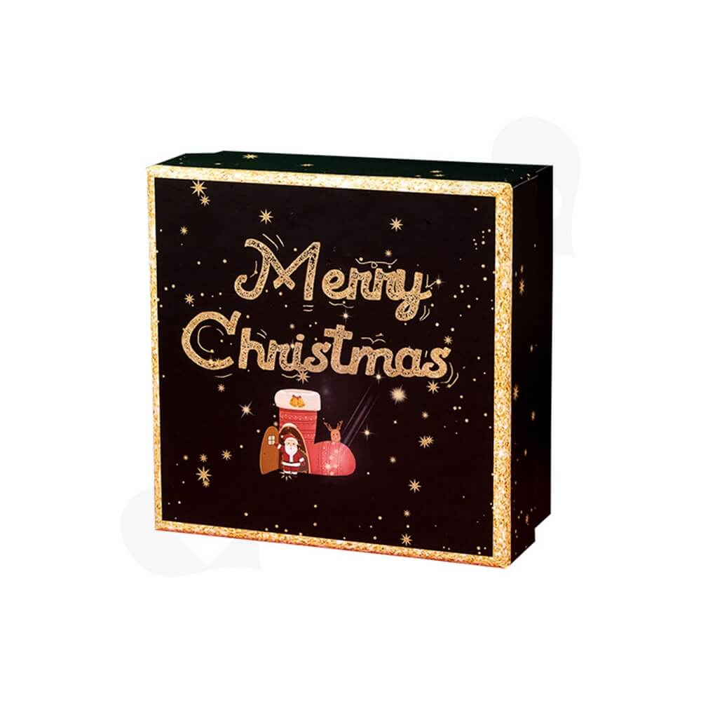 Christmas Season Gift Box With Gold Foil Stamping Side View Six