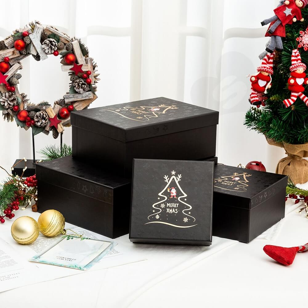 Christmas Season Gift Box With Gold Foil Stamping Side View Three