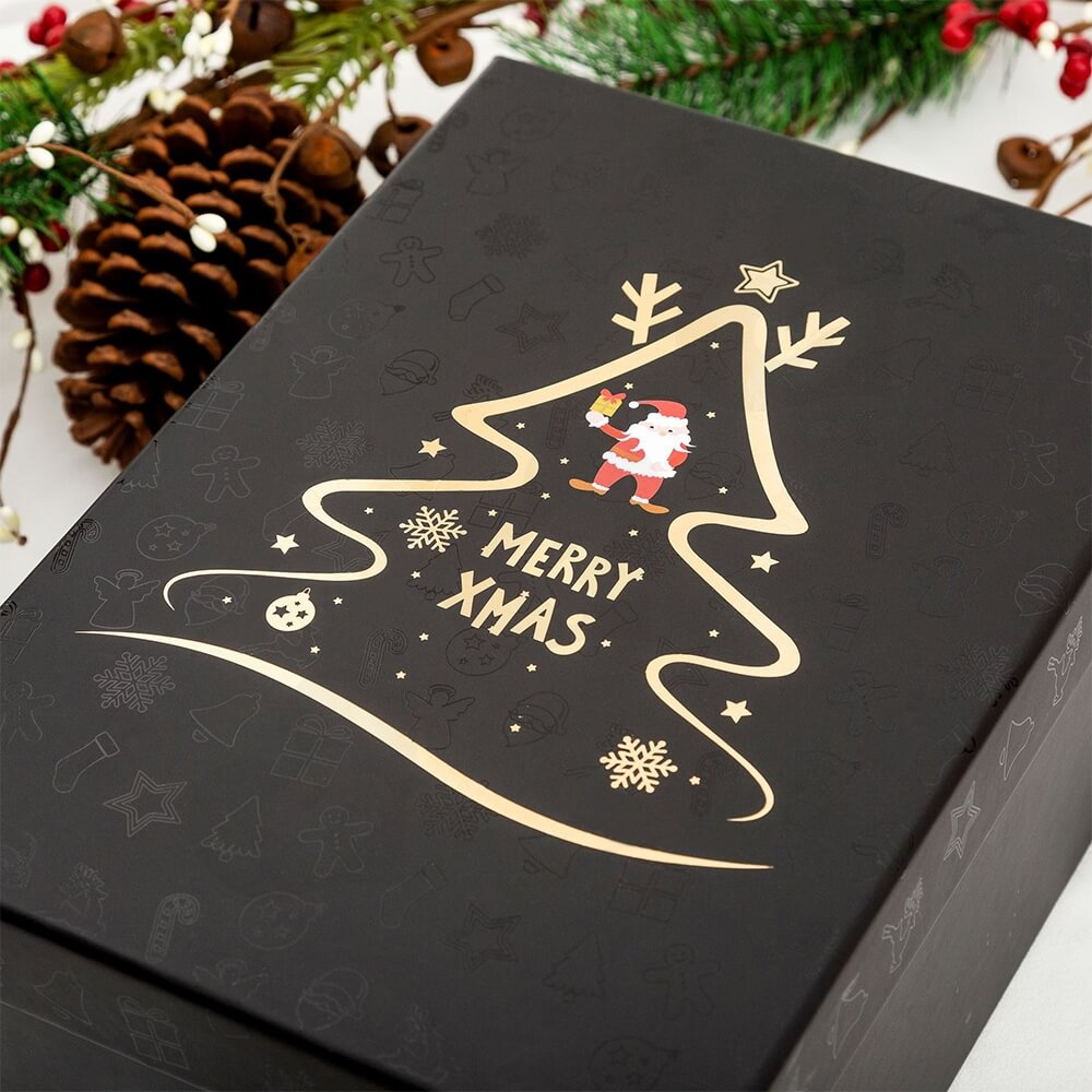 Christmas Season Gift Box With Gold Foil Stamping Side View Two