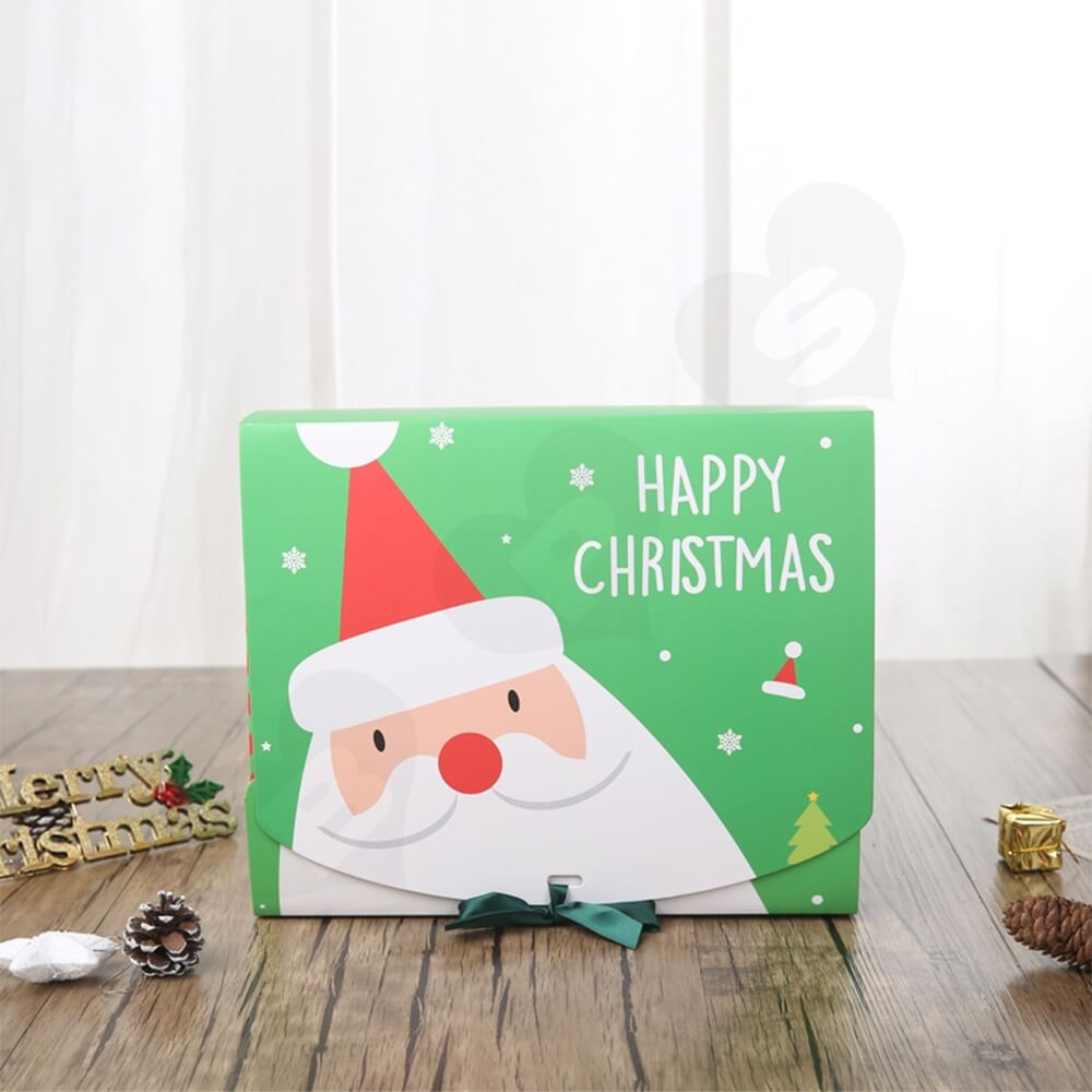 Christmas Style Printing Box With Ribbon Closure Side View Five
