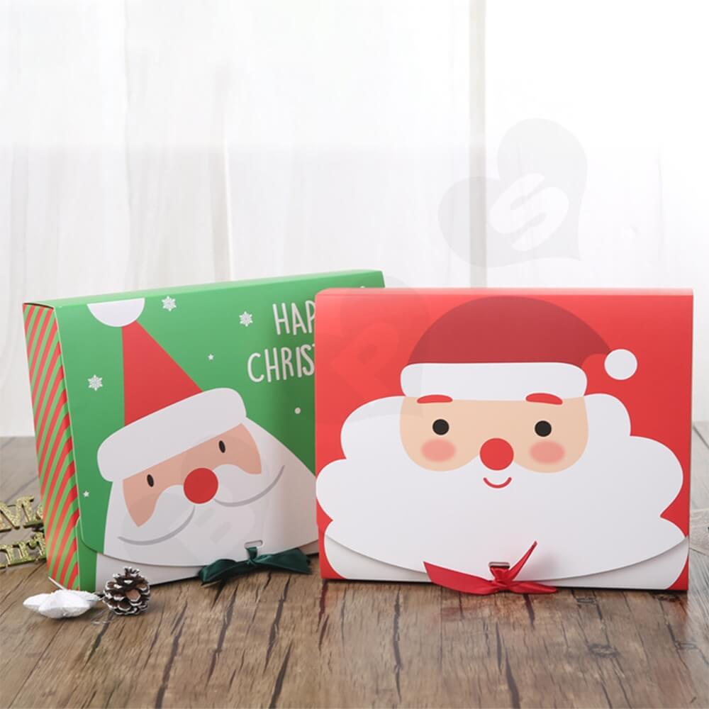Christmas Style Printing Box With Ribbon Closure Side View Three