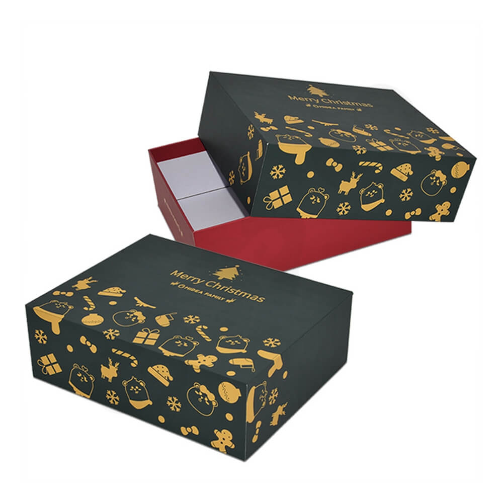 Christmas Style Printing Shoe Packaging Box Sideview Four