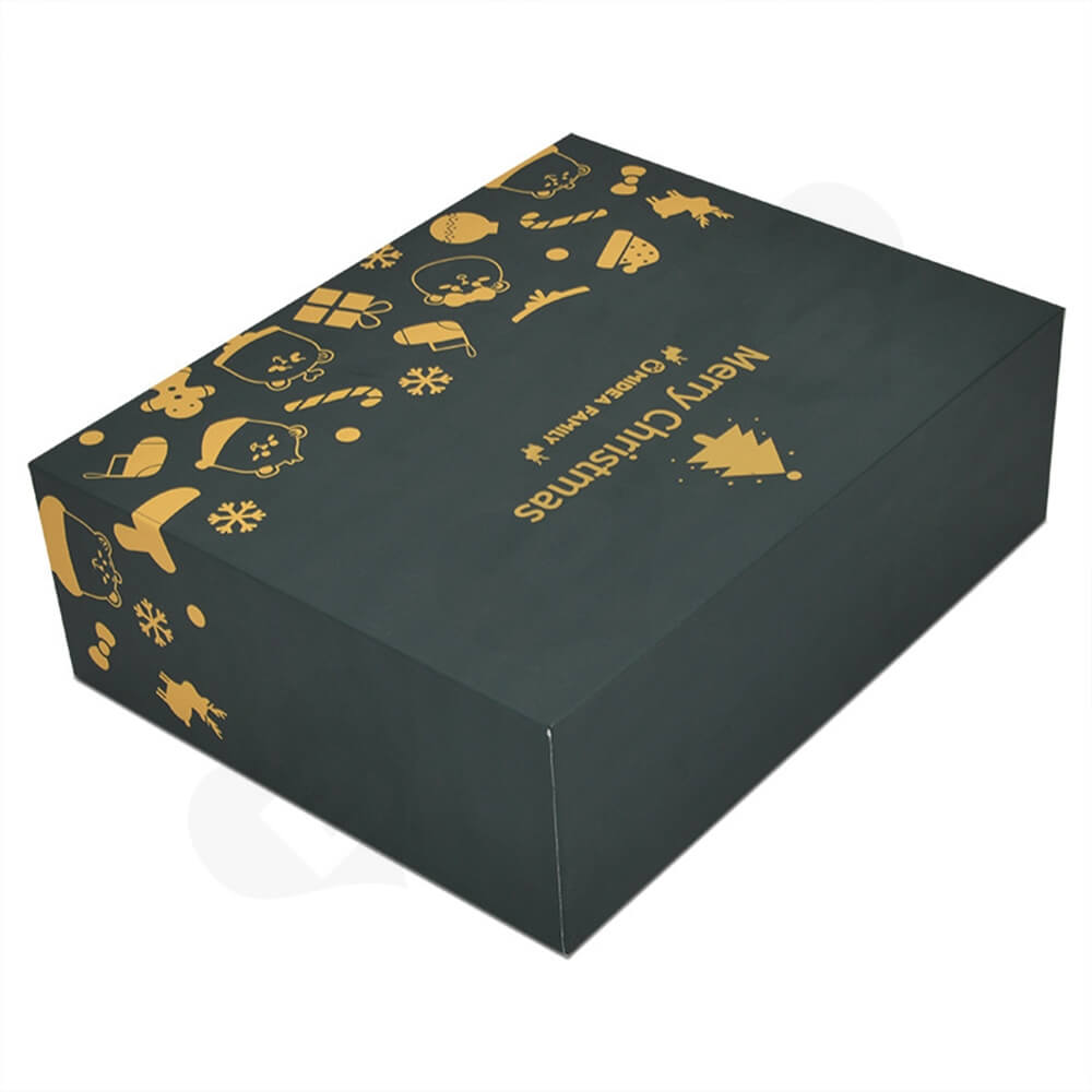 Christmas Style Printing Shoe Packaging Box Sideview Two