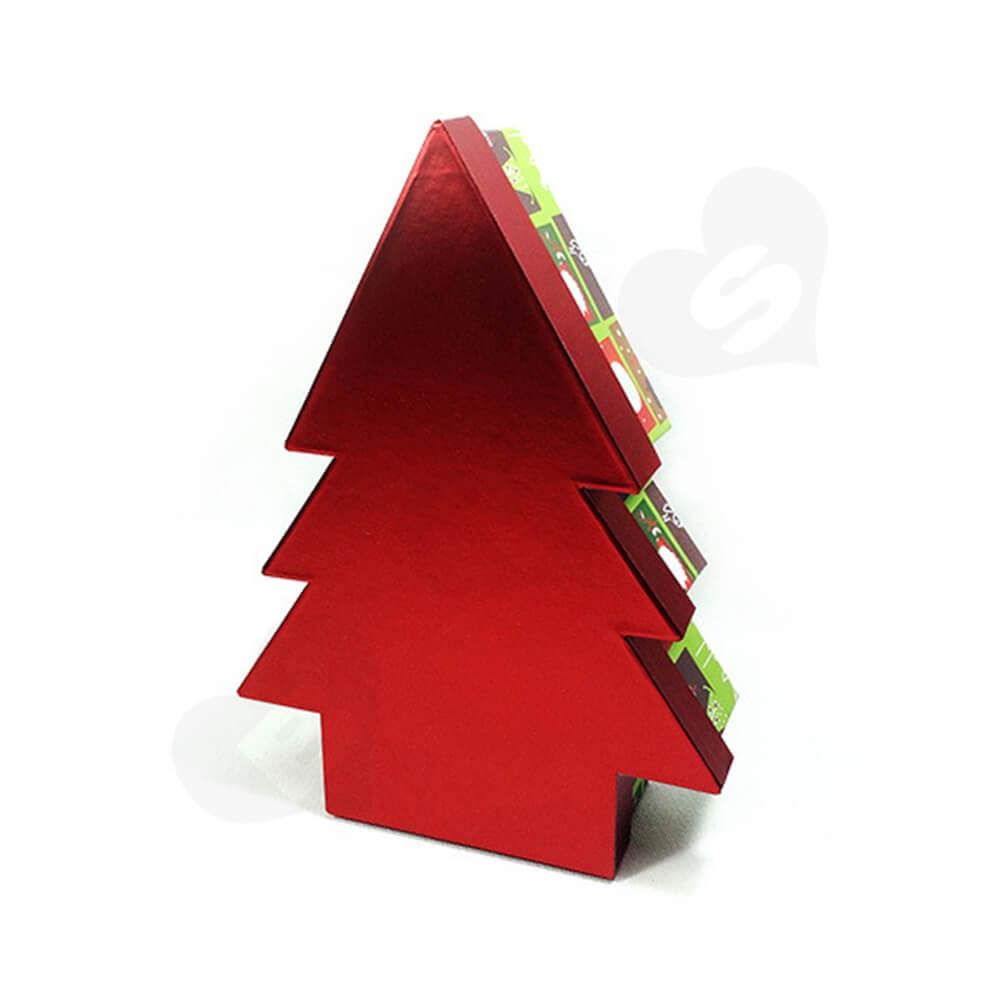 Christmas Tree Shape Rigid Gift Box Customizable Side View Five