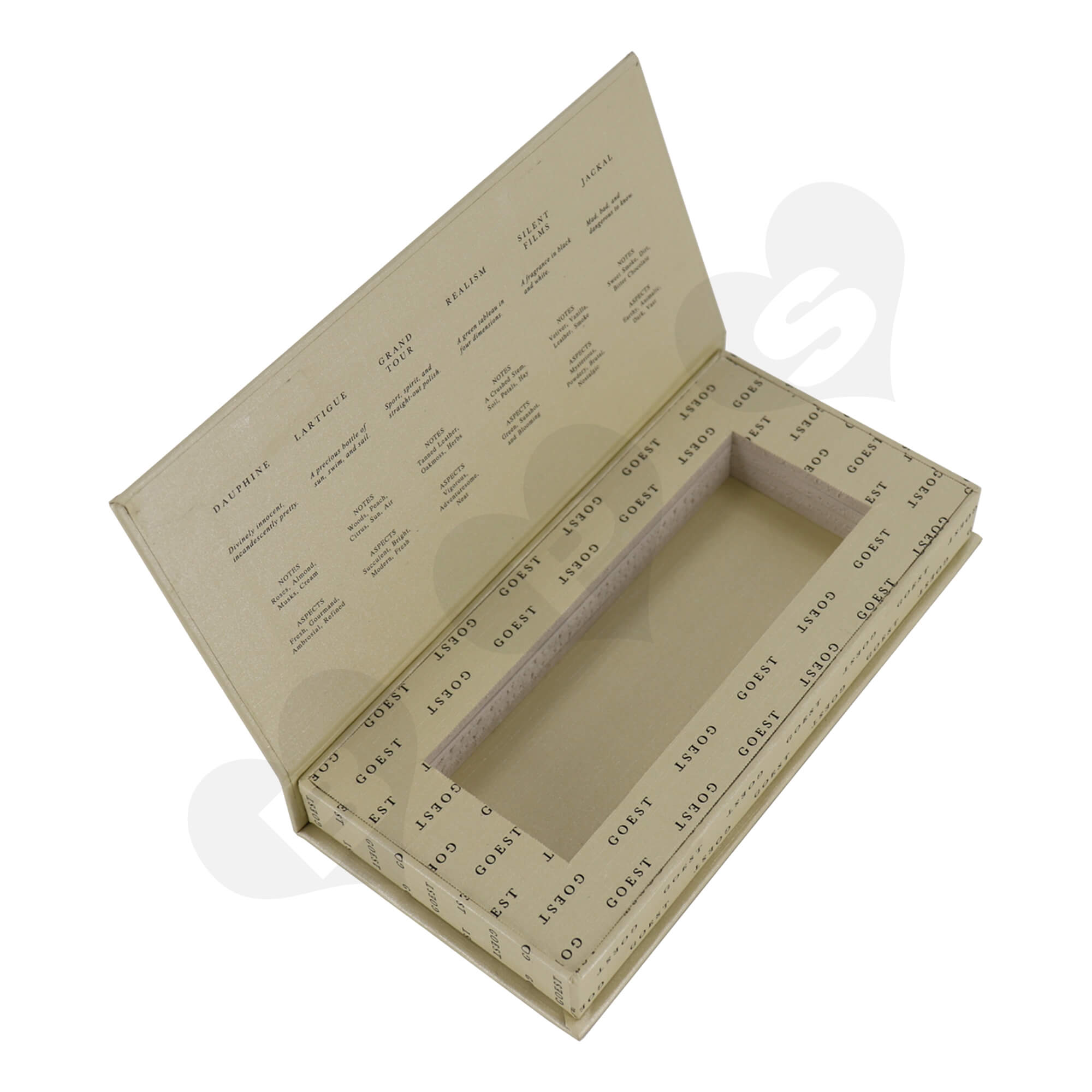 Custom Hinged Lid Book Shape Box For Packing Perfume Trial Kit Side View One