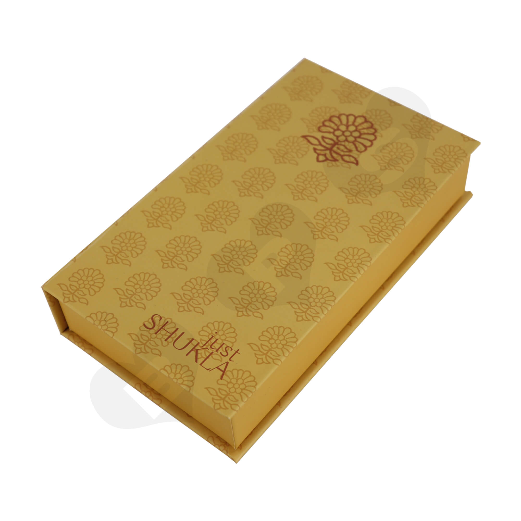 Custom Hinged Lid Book Style Gift Box For Perfume Side View One