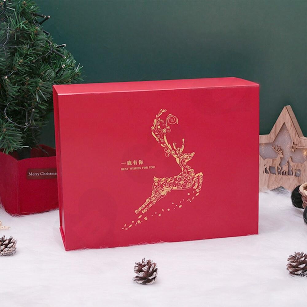 Custom Matte Christmas Gift Packaging Box Magnetic Closure Side View Three