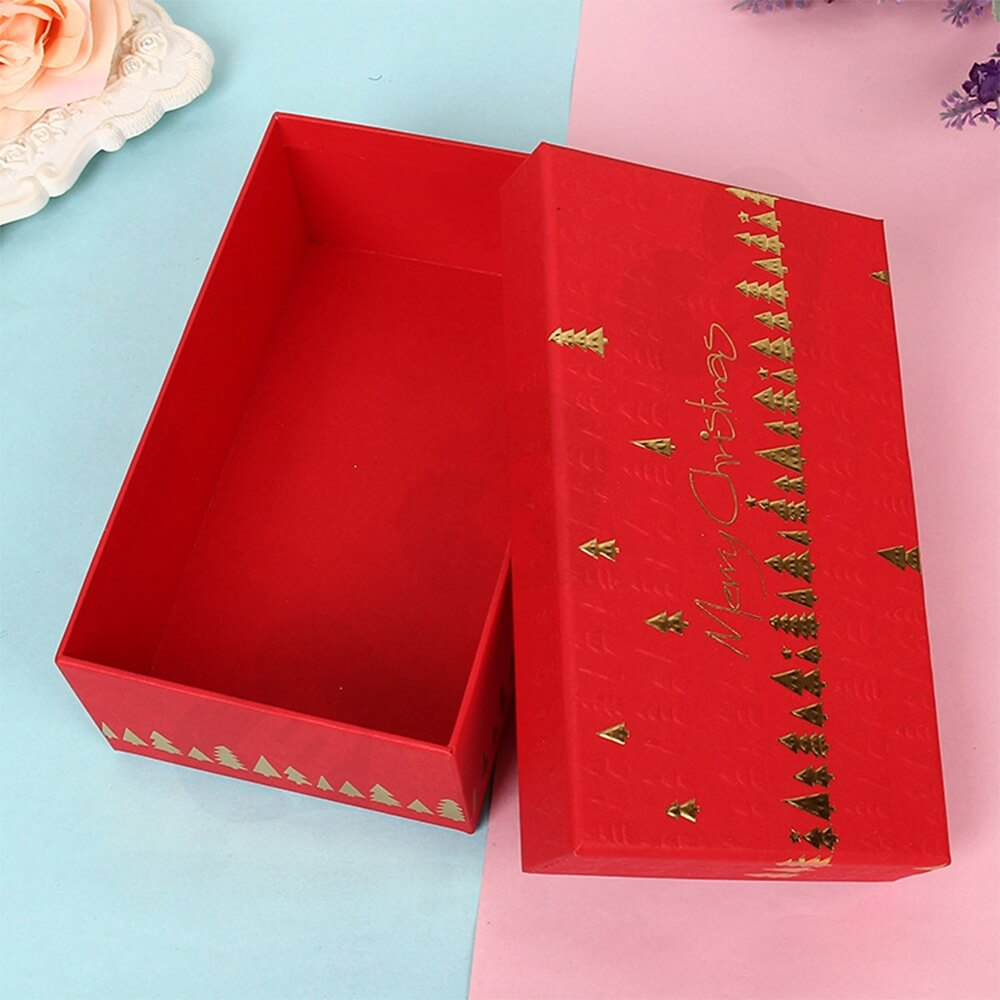 Custom Printed Christmas Gift Packaging Box With Detachable Lid Side View Three