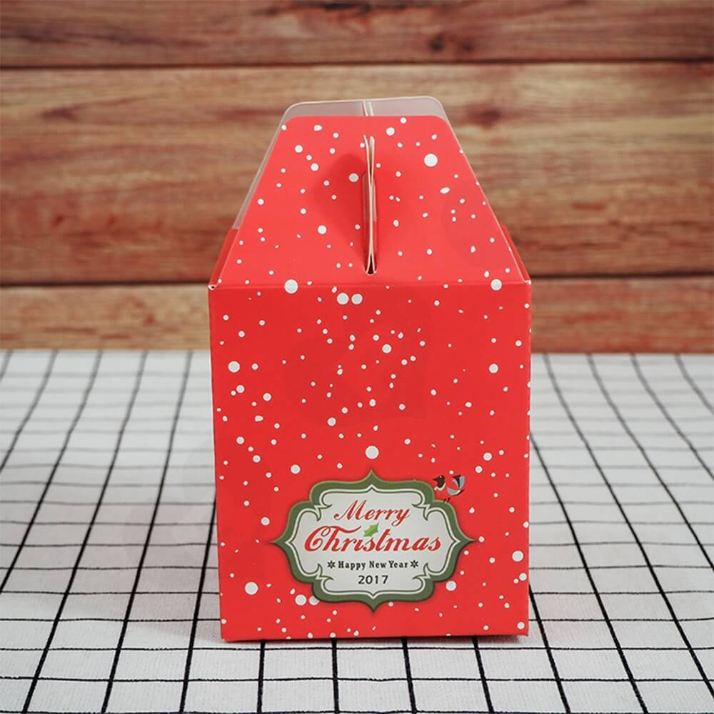 Custom Printed Gable Top Folding Carton For Christmas Gift Side View Four