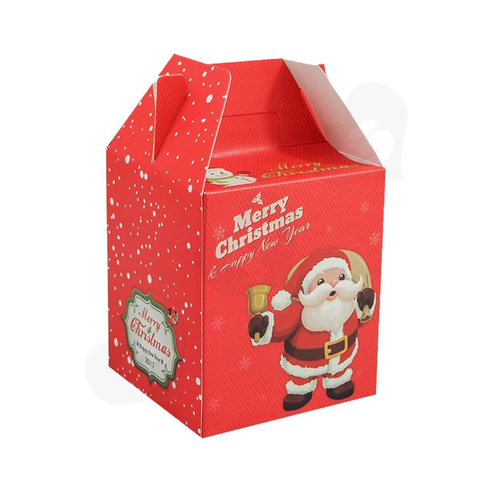 Custom Printed Gable Top Folding Carton For Christmas Gift Side View One