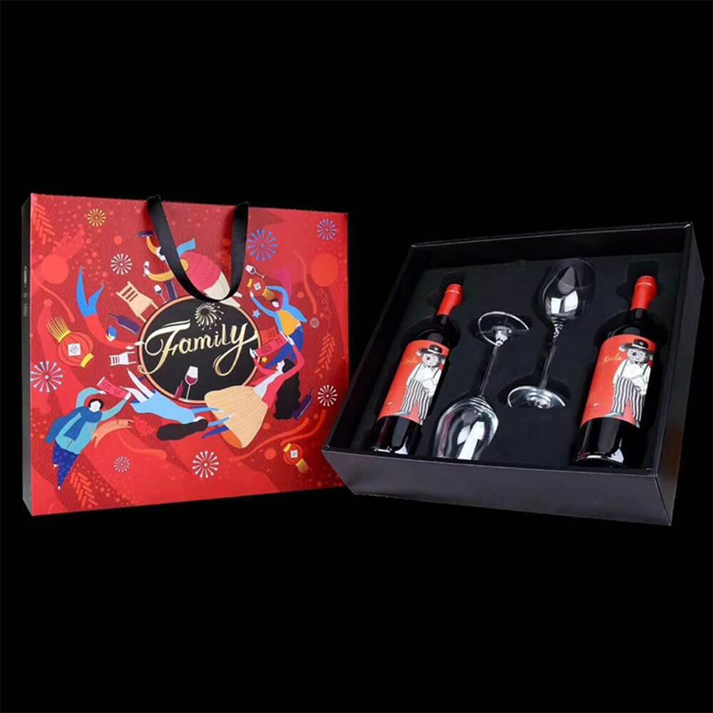 Cardboard Gift Box For Wine And Bottle Side View Five