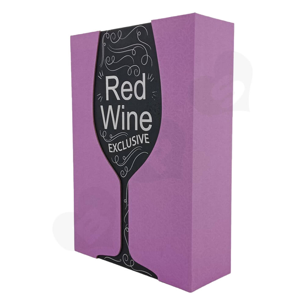 Custom Die Cut Gift Box For Red Wine Side View Two
