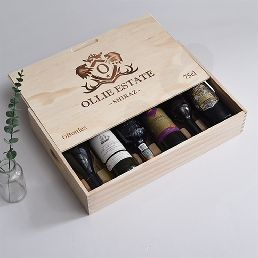 Custom Laser Printed Wine Box Side View Four