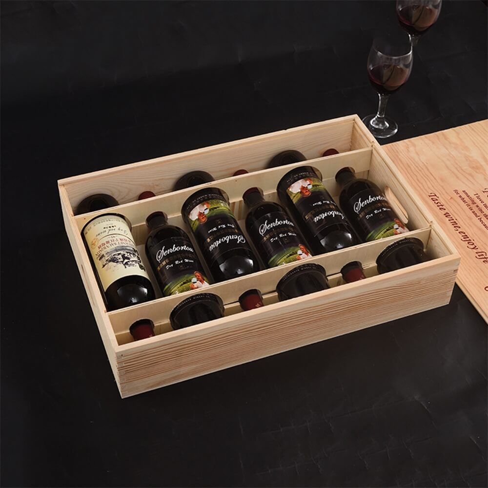 Custom Printing Wooden Wine Box With Sliding Cover Side View Five