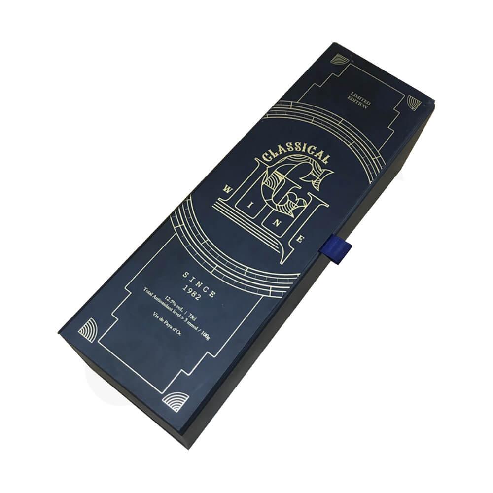 Custom Rigid Cardboard Magnetic Box For Single Wine Bottle Side View Three