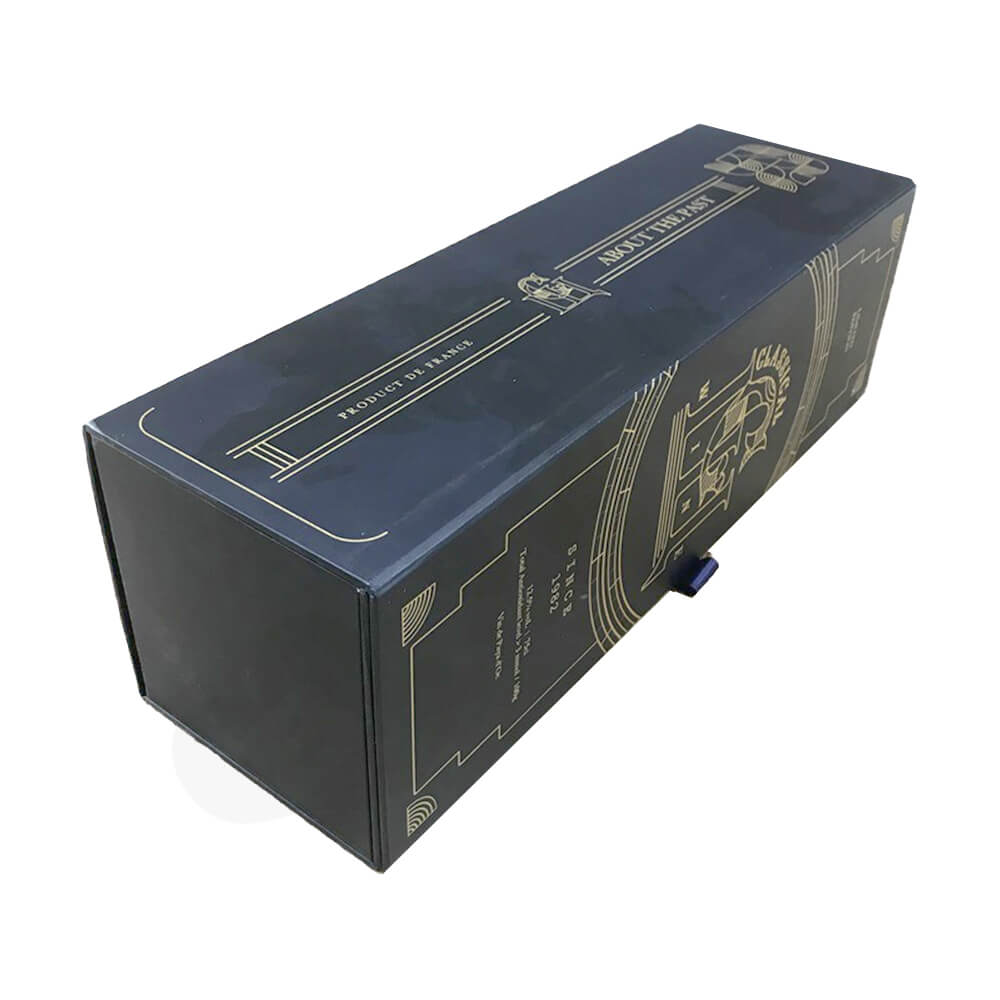 Custom Rigid Cardboard Magnetic Box For Single Wine Bottle Side View Two
