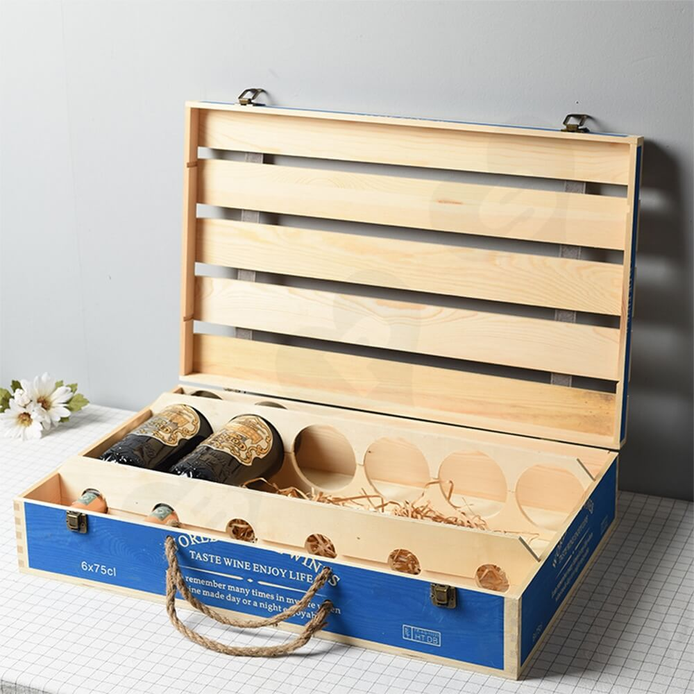 Customizable Six Pack Wine Box With Timber Divider Side View Five