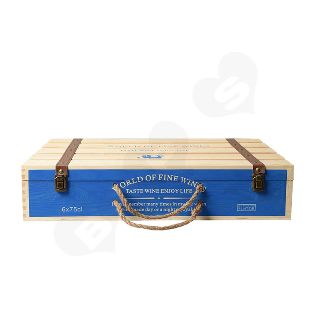Customizable Six Pack Wine Box With Timber Divider Side View One