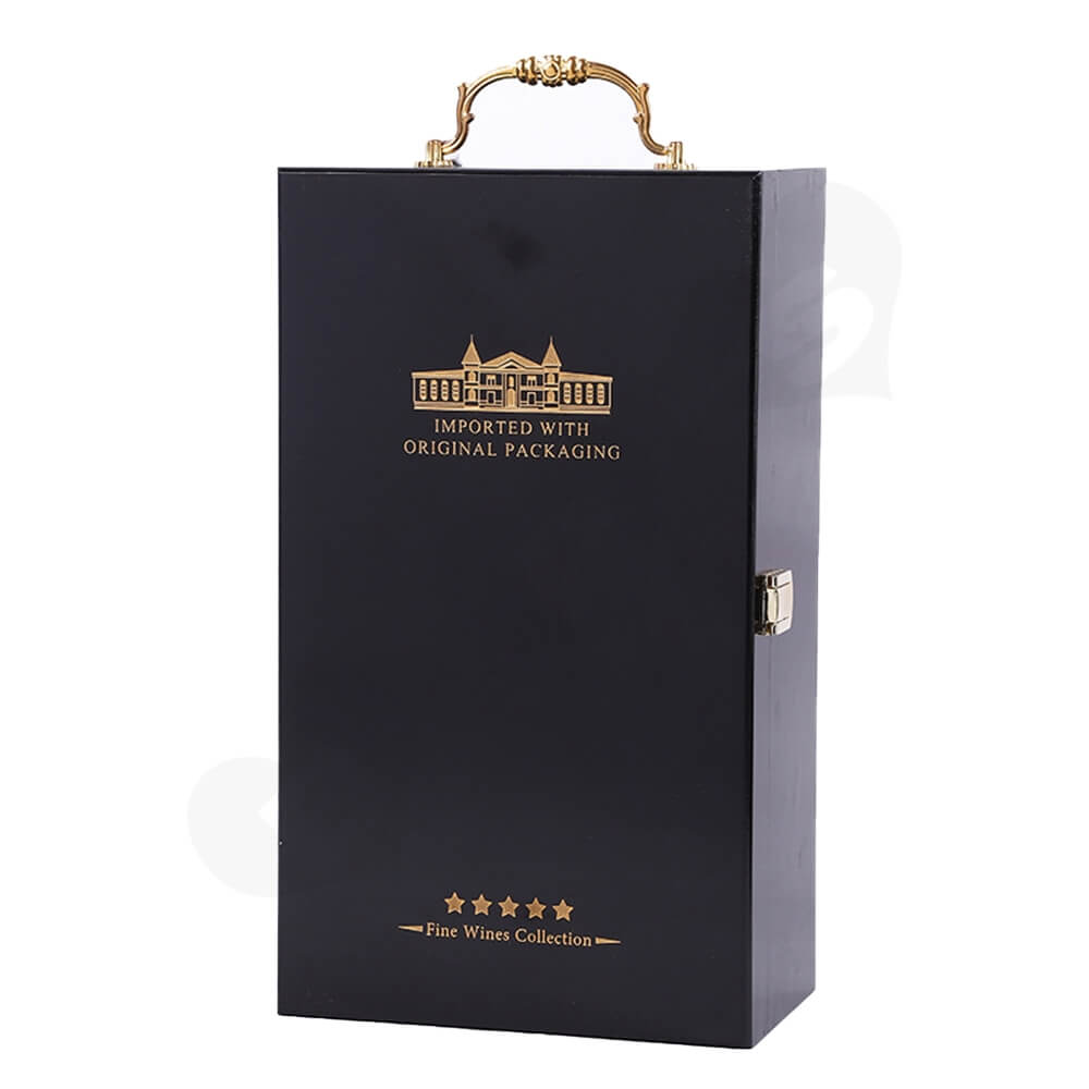 Gold Foil Stamped Wine Box Kit With Handle Side View One