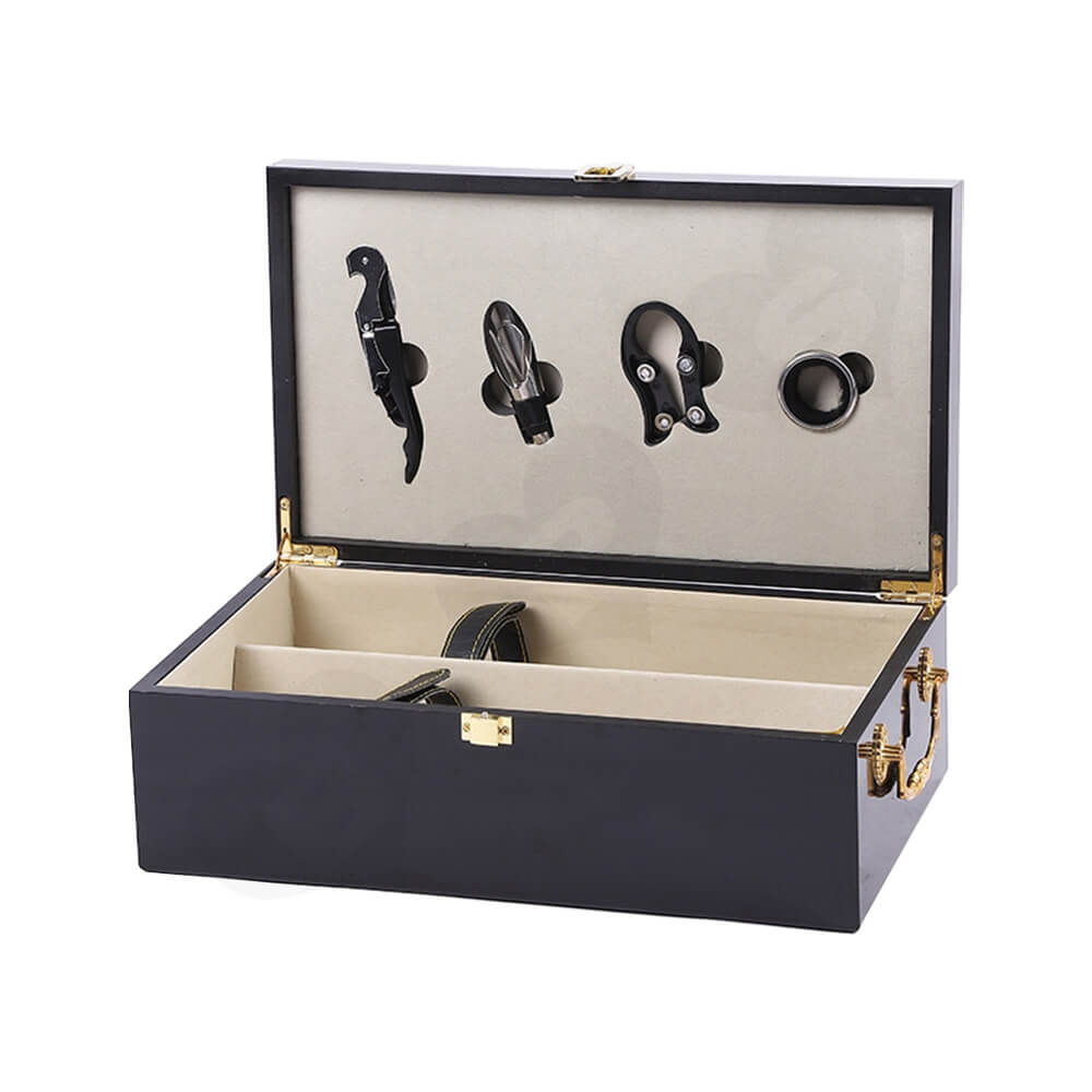 Gold Foil Stamped Wine Box Kit With Handle Side View Three