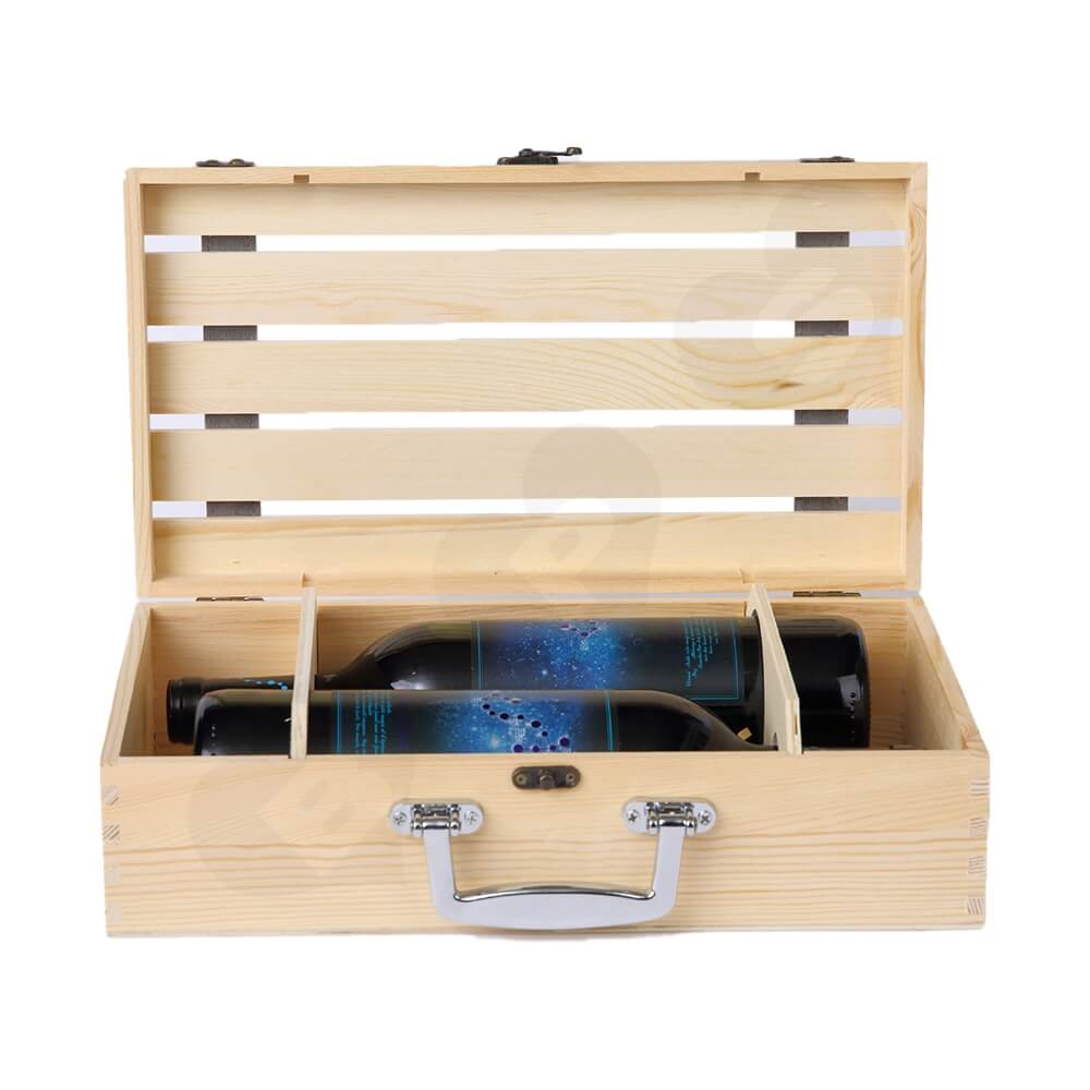 Logo Personalizable Timber Wine Case Side View Two