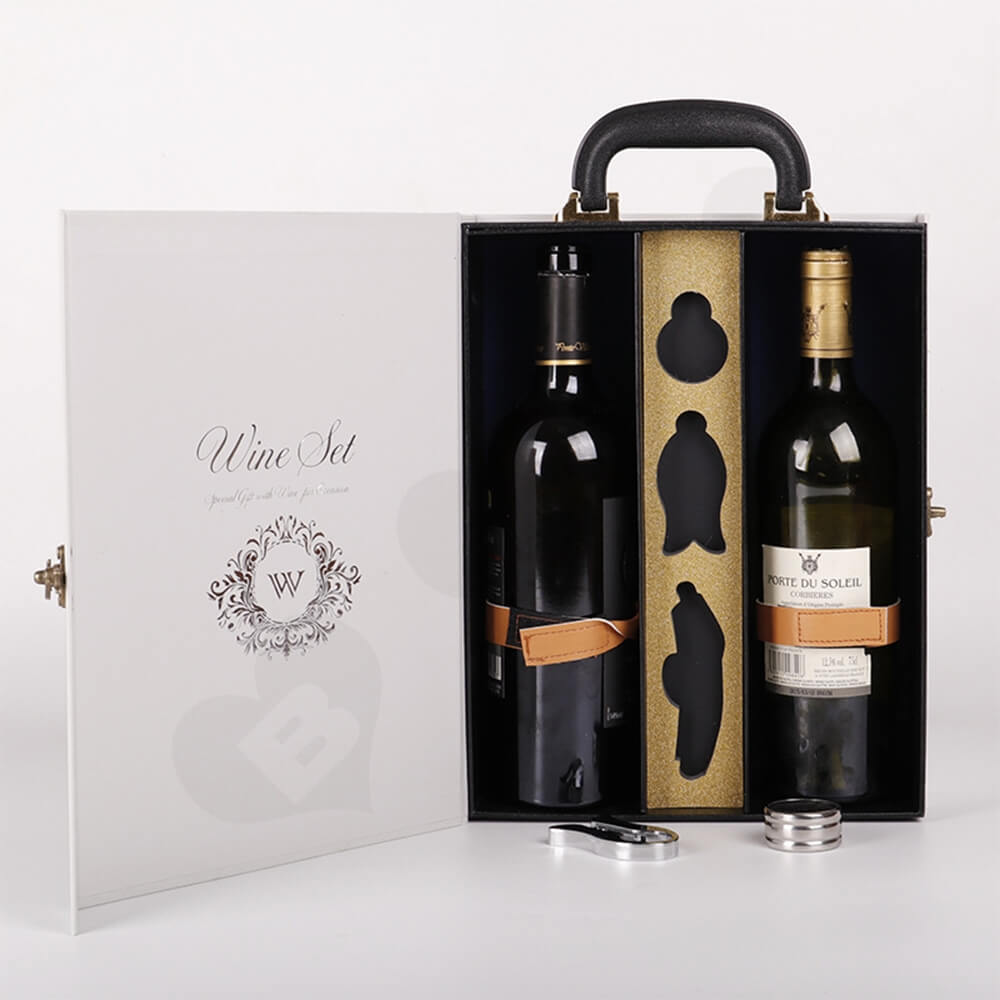 Luxury Two Pack Wine Box Kit Take Away Able Side View Three