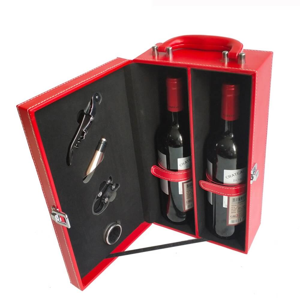 Red Color Wine Box Kit With Personalized Logo Side View Three