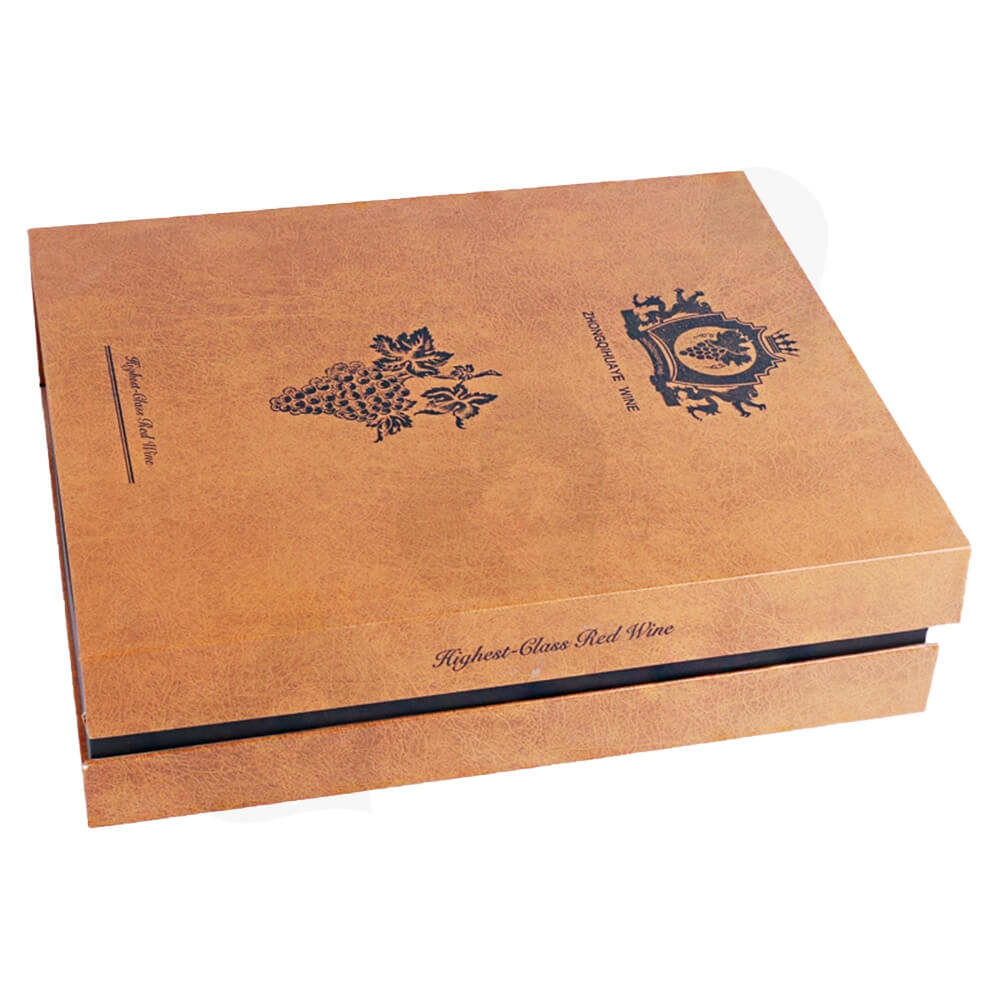 Specialty Pattern Texture Wine Box With Insert Linen Side View One