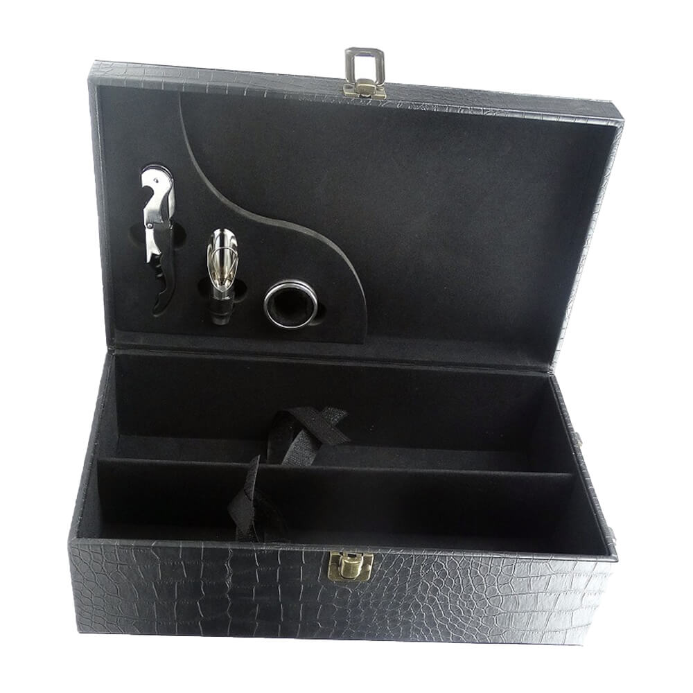 Wine Kit Packaging Box With Crocodile Pattern Side View Two