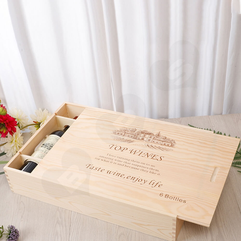 Wooden Drawer Box For Six Pack Wine Bottle Side View Five