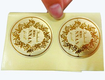 gold foil stamped adhesive stickers