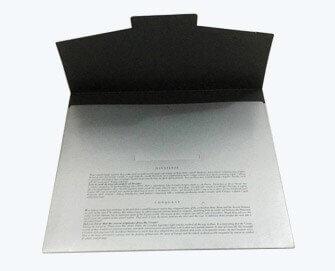 silver metallic printed paper folder